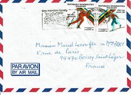 1988 - Madagascar - Lettre Pour La France - Jeux Olympiques D'hiver à Calgary - Tp N° 849 Et 850 - Madagascar (1960-...)