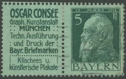 BAYERN W 3.13 O, 1911, Oscar Consee + 5 Pf., Kleiner Zahnfehler Sonst Pracht, Mi. 650.- - Bayern
