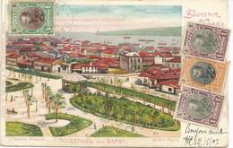 001050 - BULGARIA - 2 PCs SOUVENIR DE VARNA : JARDIN PUBLIC - LA COTE SUD DE LA VILLE - SPECTACULAR FRANKING 1907 - Bulgaria
