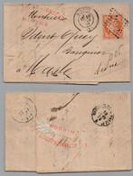 HIRSON - AISNE /1873 - GC 1802 SUR 40 C. SIEGE SUR LETTRE POUR MARLE (ref 8208a) - 1870 Besetzung Von Paris