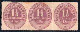 1 1/3 Shilling Bräunlichviolett - Dreierstreifen - Schleswig Holstein Nr. 10 - Tief Geprüft - Schleswig-Holstein