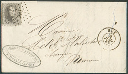 N°14 - Médaillon 10 Centimes Brun Gris, Obl. LP.186 Sur Lettre De HUY(exp. RAHIER Et LONDOT TIHANGE) Le 21 Juillet 186 - 1863-1864 Medallones (13/16)