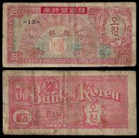 SOUTH KOREA BANKNOTE 5 WON (1953) P#12 F (NT#05) - Korea, South