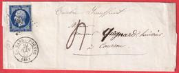 N°14 PC 981 COULANGES SUR YONNE TAXE 4 TIMBRE INSUFFISANT POUR COURSON - 1849-1876: Klassik