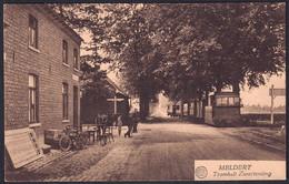 +++ CPA - MELDERT - Lummen - Tramhalt Zwartenting - Vélo - TRAM à Vapeur - Cachet Relais 1928  // - Lummen