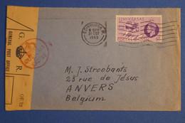 P12 GRANDE BRETAGNE BELLE LETTRE CENSUREE 1949 GUERRE EDINBURGH  POUR  ANVERS BELGIQUE+ AFFRANCH. PLAISANT - Brieven En Documenten