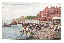 Westcliff-on-Sea - Beach Looking West - 1926 Used Postcard - Southend, Westcliff & Leigh