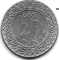 *suriname 25  Cents 1966  Km 14   Unc/ms63 - Surinam 1975 - ...