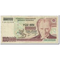Billet, Turquie, 100,000 Lira, 1991, Old Date : 14.10.1970 (1991)., KM:205, B - Turkey