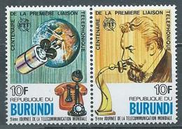 Burundi YT N°703-704 Première Liaison Téléphonique (Paire Se-tenant) Neuf ** - 1970-79: Neufs