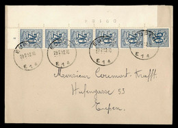 Brief Met Uitgifte Heraldieke Leeuw OBP 858 + OBP841 In Strip Van 5 Velnummer 09184 + Plaatnummer 2 Op Brief - 1951-1975 Leone Araldico