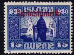 ✔️ Island Iceland 1930  - Service Officials - Allthing 1000 Years - Mi. 48 * MH - €20 Depart 1,99 - Dienstpost