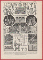 Verre. Fabrication. Verrerie. Illustration Maurice Dessertenne. Larousse 1922 - Documenti Storici