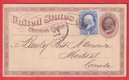 ENTIER REPIQUE USA + N°39 BOSTON 1873 MERCHANTS NATIONAL BANK MONTREAL CANADA - Briefe U. Dokumente