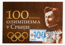 2010 SERBIA,BELGRADE,MAXIMUM CARD,FD CANCELLATION,100 OF OLYMPICS SPORT IN SERBIA - Serbia