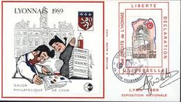 FDC 1er Jour Lyonnais 1989 Salon Philatélique De Lyon Déclaration Universelle Droits De L'homme Feuillet Cnep YT 2566 - 1980-1989