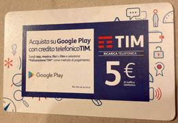 REF. 87 -  ITALIA - TIM - € 5 - GOOGLE PLAY - VALIDITA DIC 2019 - [2] Tarjetas Móviles, Prepagadas & Recargos