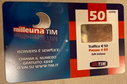 REF. 87 -  ITALIA - TIM - € 50 - MILLEUNA TIM - VALIDITA GIU 2010 - [2] Sim Cards, Prepaid & Refills