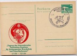 DDR P84-42b-84 C90 Postkarte Zudruck BRANDSCHUTZ UND FEUERLÖSCHWESEN DRESDEN Sost. 1984 - Privatpostkarten - Gebraucht