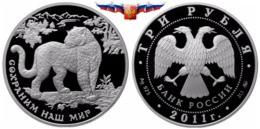 Russia 3 Rubles 2011 Southwest Asian Leopard Silver 1 Oz PROOF - Russia