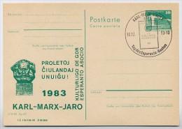 DDR P84-48-83 C54 Postkarte Zudruck ESPERANTO KARL-MARX-JAHR Sost. 1983 - Privatpostkarten - Gebraucht
