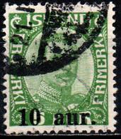 ISLANDA - 1922 - EFFIGIE DI CRISTIANO X - SOVRASTAMPATO - 10 SU 5a - USATO - Gebraucht