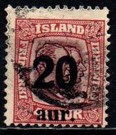 ISLANDA - 1921 - EFFIGIE DI FEDERICO VIII E CRISTIANO X CON SOVRASTAMPA - OVERPRINTED - 20 SU 40 - USATO - Gebraucht