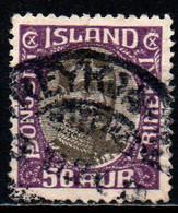 ISLANDA - 1920 - EFFIGIE DI CRISTIANO X - VALORE DA 50a GRIGIO E BORDEAUX - USATO - Gebraucht