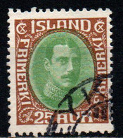 ISLANDA - 1920 - EFFIGIE DI CRISTIANO X - VALORE DA 25a BRUNO E VERDE - USATO - Gebraucht