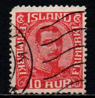 ISLANDA - 1920 - EFFIGIE DI CRISTIANO X - VALORE DA 10a ROSSO - DENTE CORTO - USATO - Gebraucht