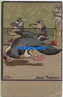 157258 ART ARTE SIGNED EUGEN OSSWALD PINGÜIN PLAYING TENNIS POSTAL POSTCARD - Non Classificati
