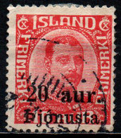 "ISLANDA - 1922 - SCRITTA ""PJONUSTU"" - SOVRASTAMPATO - VALORE DA 20a SU 10a - USATO - Dienstpost"