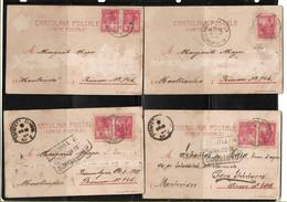 ARGENTINA 1901 SERIE 4 TARJETAS POSTALES OPERA LA BOHEME A MONTEVIDEO - Matasello ESTAFETA FLUVIAL - Libertad Sentada - Non Classés