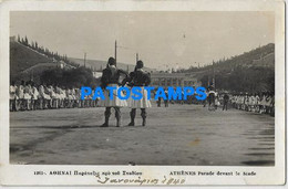157304 GREECE ATHENES COSTUMES PARADE IN FRONT OF THE STADIUM POSTAL POSTCARD - Greece