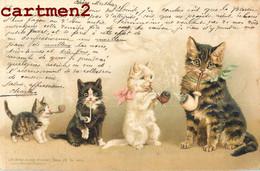 CHATS HUMANISES FUMANT LA PIPE CAT ILLUSTATEUR CHAT KAT LITHO ANSTALT MÜNCHEN ENVOI A ORBE SUISSE 1899 - Cats