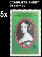 CV:€37.50 St.Vincent Grenadines-Bequia 1987 EII Wedding Queen Victoria 15c COMPLETE SHEET:25 Stamps BULK:5 - St.Vincent E Grenadine
