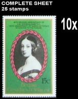 St.Vincent Grenadines-Bequia 1987 EII Wedding Queen Victoria 15c COMPLETE SHEET:25 Stamps BULK:10 - St.Vincent E Grenadine