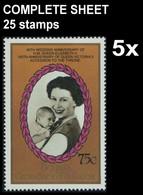 CV:€75.00  BULK:5 X St.Vincent Grenadines-Bequia 1987 EII Wedding Philip 75c COMPLETE SHEET:25 Stamps - St.Vincent E Grenadine