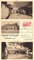 Tri-Fold Hostellerie Du Coq Hardi, Verdun. Restaurant Interior & Le Hall. 1955 Postmark - Chateauroux