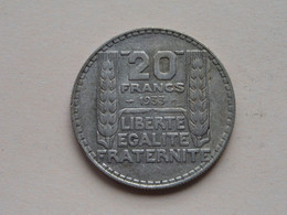 1933 - 20 Francs / KM 879 ( Uncleaned - For Grade, Please See Photo ) ! - L. 20 Francs