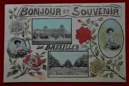 CPA Fantaisie 1910 - Bonjour Et Souvenir De Bruxelles - 2 Vues, Femmes Et Fleurs - Other