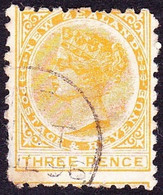 NEW ZEALAND 1891 3d Pale Orang-Yellow Perf 10 SG221 Used - Gebraucht