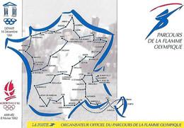 Parcours FLAMME OLYMPIQUE Albertville 92 - Carte De France - Départ 14 Décembre 1991 - Arrivée 8 Février 1992 - La Poste - Manifestazioni