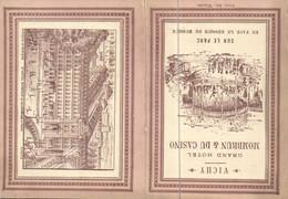 Carte Double VICHY Grand Hotel MONBRUN & DU CASINO RV  Tarifs Appartements Restaurants - Vichy