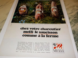 ANCIENNE PUBLICITE SAUCISSON A LA FERME CHARCUTIER MELLI 1970 - Other
