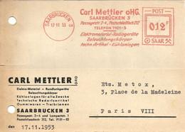 EMA  CARL  METTLER OHG  SAARBRÜCKEN   17/11/53 - Freistempel
