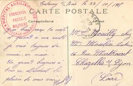 CACHET HOPITAL AUXILLIAIRE FONTENAY SOUS BOIS  1915 POUR CHAZELLES SUR LYON LOIRE - WW I