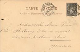 CACHET TIMBRE A DATE HERICY SEINE ET MARNE 1900 SUR TYPE SAGE Pour COUVENT DES DAMES DE NEVERS SENS - 1877-1920: Semi Modern Period