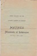 Cl 20 P 01) Programme 1908 Lycée Louis Le Grand  (Format A 4+) - Programs