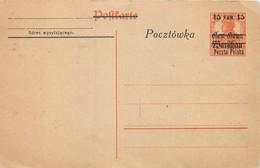 Pologne - Entier Postal, Provisoire - Briefe U. Dokumente